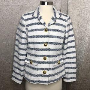 Sail to Sable White Blue Striped Tweed Blazer XS